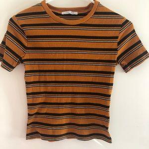 💎 2/$20 ZARA Orange Striped Stretch Shirt, Small
